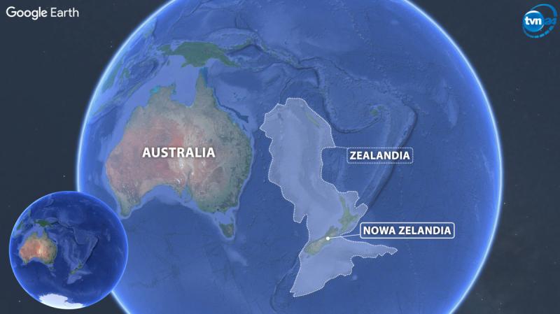 Nowy kontynent znajduje się na wschód od Australii