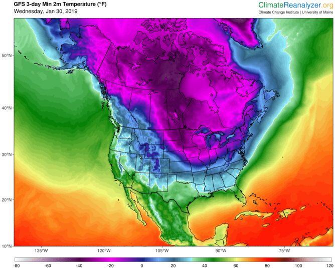 Prognozowana minimalna temperatura w najbliższych dniach (climatereanalyzer.org)
