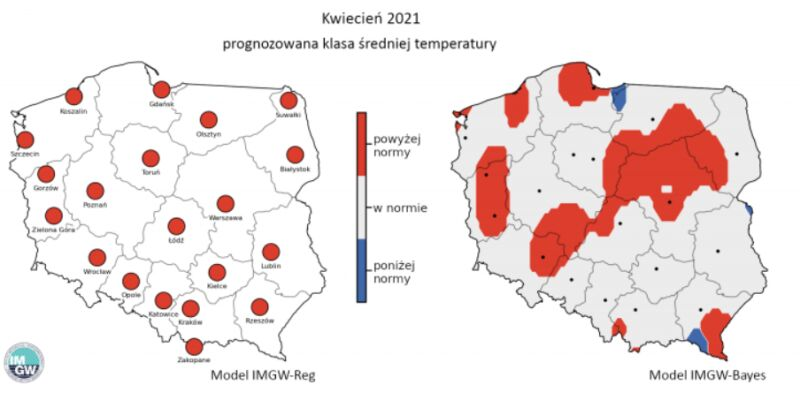 Prognozowana klasa średniej miesięcznej temperatury powietrza w kwietniu 2021 r. według modelu IMGW-Reg i IMGW-Bayes (IMGW)